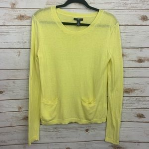GAP Yellow Long Sleeve Front Pocket Sweater